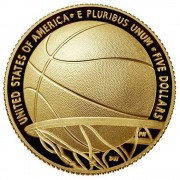 USA BASKETBALL HALL OF FAME $5 Five Dollars Gold Coin Concave Convex Shaped 2020 Proof